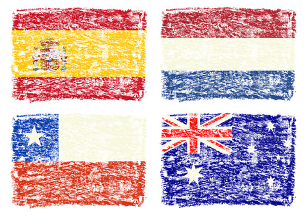 Crayon draw of group B worldcup soccer 2014 country flags, Chile, Spain, Australia, Netherlands photo
