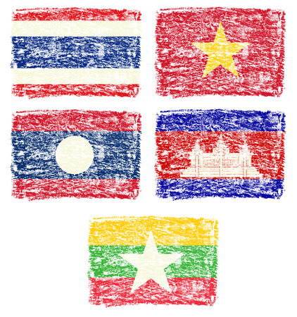 crayon: Crayon draw of south east Asia country national flag  Stock Photo