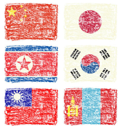 east asia: Crayon draw flag of east Asia country Stock Photo
