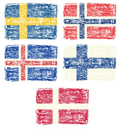 education in sweden: Crayon draw of Scandinavia country flag