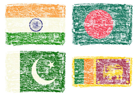 srilanka: Crayon draw flag of South Asia country