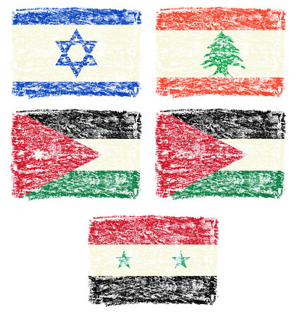 Crayon draw flag of middle east country photo