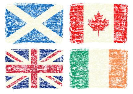 Crayon draw flag of Canada, UK, Scotland, Ireland photo