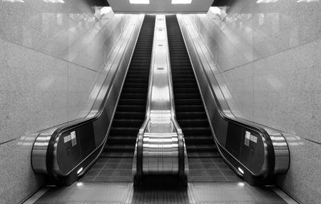 Black and white escalator