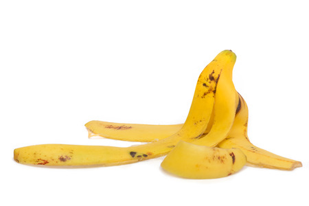 Banana peel isolated on white background photo