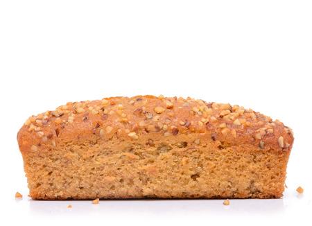 Banana cake bread isolated on white background photo