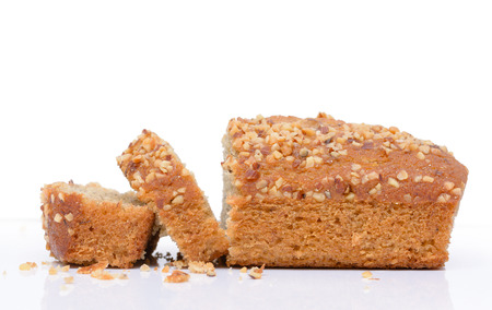 Banana cake bread isolated on white background photo