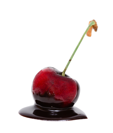 dipped: Red cherry in chocolate dipped isolated on white background