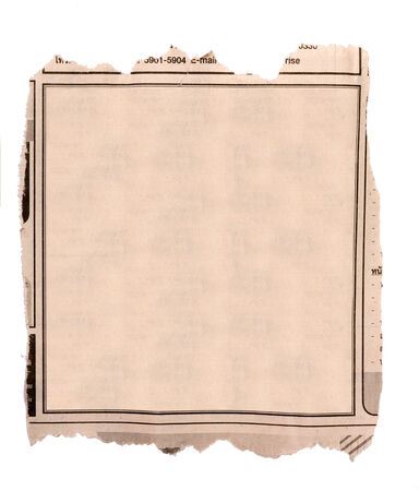 old newspaper: Blank block of old newspaper advertise Stock Photo