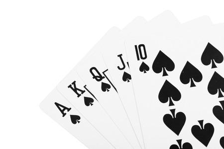 straight flush: Black spade royal straight flush poker card Stock Photo
