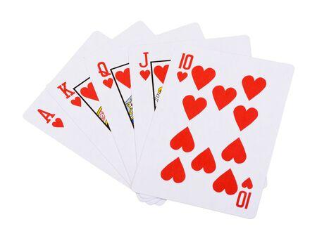 straight flush: Red hearts royal straight flush poker card