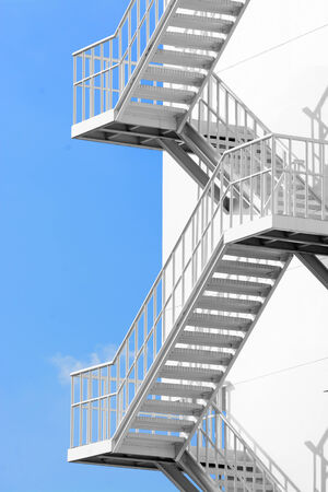 Beau Outdoor White Steel Stair Stock Photo   31922664