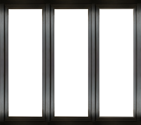 windows: Black metal window frame Stock Photo