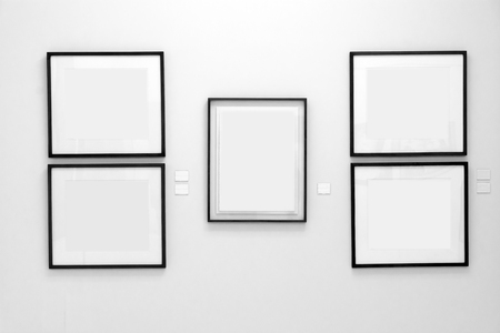 Black Wood Frames On White Wall Stock Photo, Picture And Royalty ...