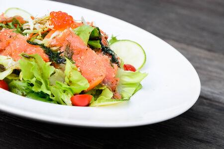 balsamic: Smoked fresh salmon balsamic vinegar salad Stock Photo