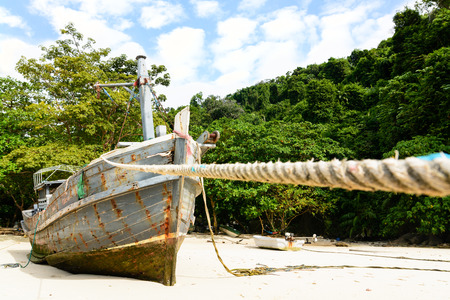 ship wreck: Wooden fishery boat ship wreck Stock Photo