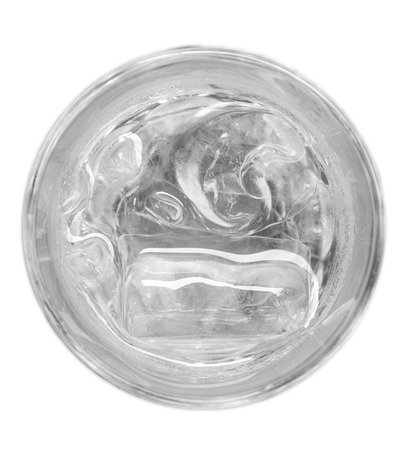 from above: Glass of water and ice