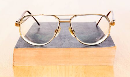 Old Broken Eyeglasses And Vintage Book Stock Photo, Picture And ...