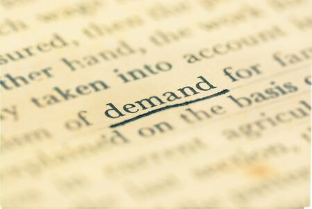 demand: Focus demand word in vintage text book