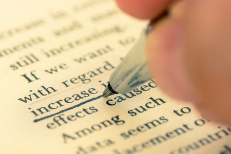 emphasis: Pen emphasis on increase word in old book