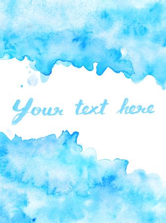 and turquoise: Copy space in blue water color background
