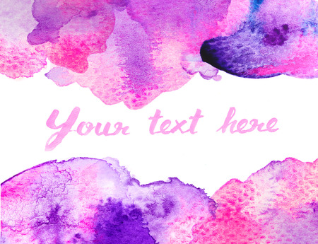 violet purple: Copy space between purple pink water color background