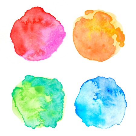 blue circle: Rough circle colorful watercolor painting