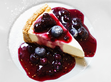 blue berry: Blue berry cheese cake Stock Photo
