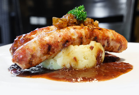 Pork sausage with mash potato