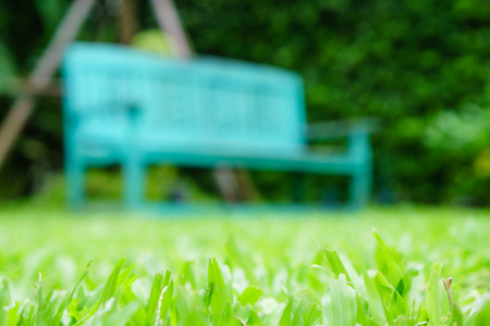 low angle: blur vintage bench in grass garden from low angle shot Stock Photo