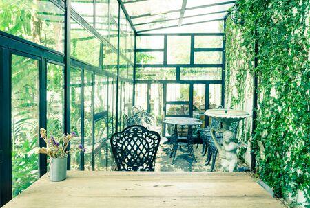 glasshouse: Vintage green glasshouse interior Stock Photo