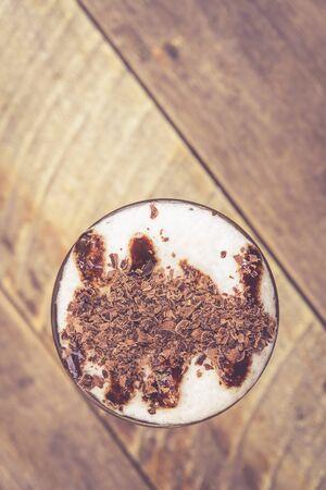 mocha: Top view ice coffee mocha