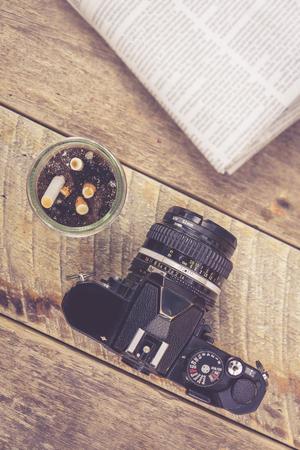ashtray: Vintage camera ashtray newspaper