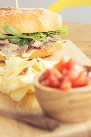 pan frances: Francés beef sandwich de Mayo Foto de archivo