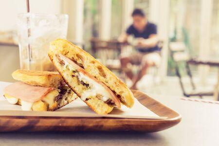 jamon y queso: queso jamón sandwich cubano Foto de archivo