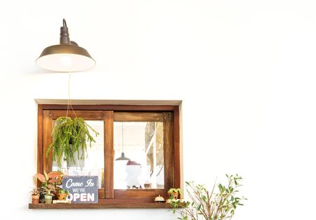 shop window: shop wooden window on white wall background