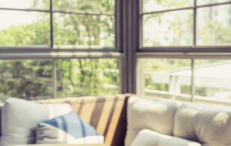 living room window: blur modern living room with glass window Stock Photo