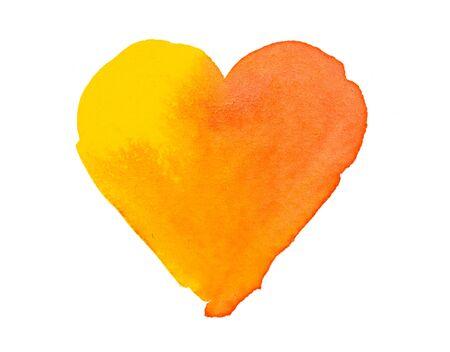 yellow heart: Orange yellow heart shape colorful watercolor Stock Photo