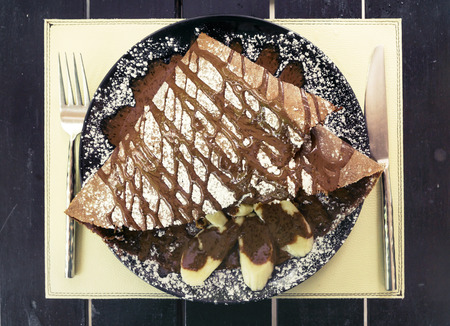 nutella: Chocolate crepe  dessert with banana