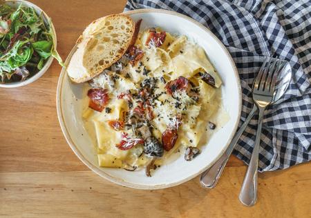 truffle: Truffle Alfredo bacon mushroom pasta italian
