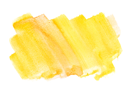 yellow paint: Orange yellow water color paint rough square shape texture on white background Stock Photo