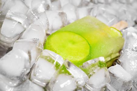 icecube: Lime sorbet ice cream on icecube background Stock Photo