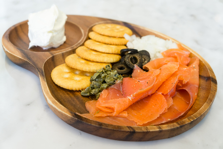 caper: Salmon cream cheese with biscuit caper and black olive