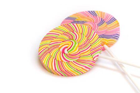 Colorful retro style round shape lollipop isolated on white background
