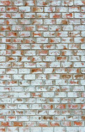 Grunge vintage white orange brick wall background texture Imagens