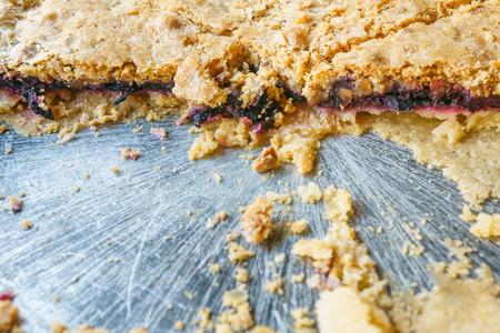 blue berry crumble pie close up