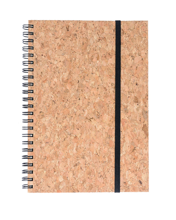 Cork wood diary note book isolated on white background