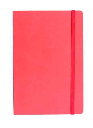 Red leather diary note book isolated on white background Imagens
