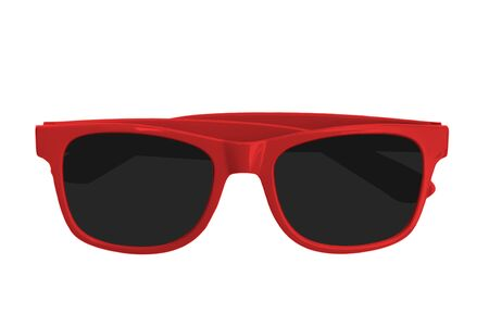 red sun glass isolated on white background