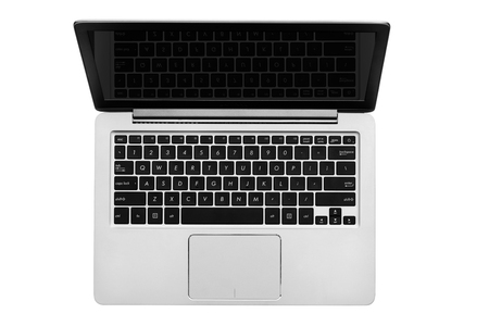 Gray silver computer notebook top view isolated on white background Imagens